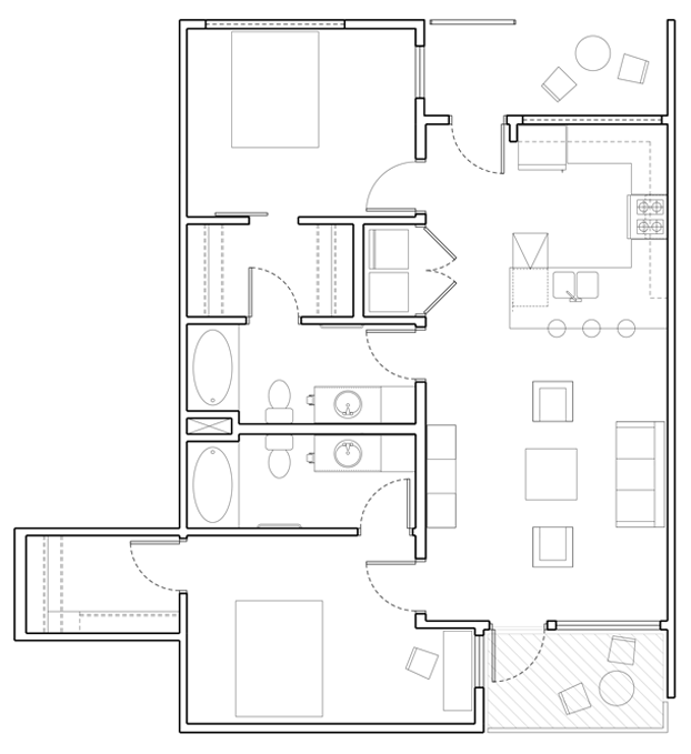 A 2C unit with 2 Bedrooms and 2 Bathrooms with area of 1071 sq. ft